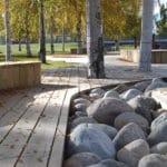 Goda exempel, -träbyggnad i stadspark och stad