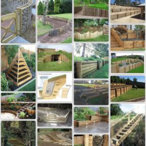 Stödmurar och terrassering in trä