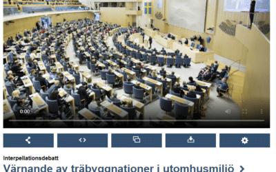 Riksdagen: Träförädling och modernt träskydd debatteras ur ett konkurrensperspektiv